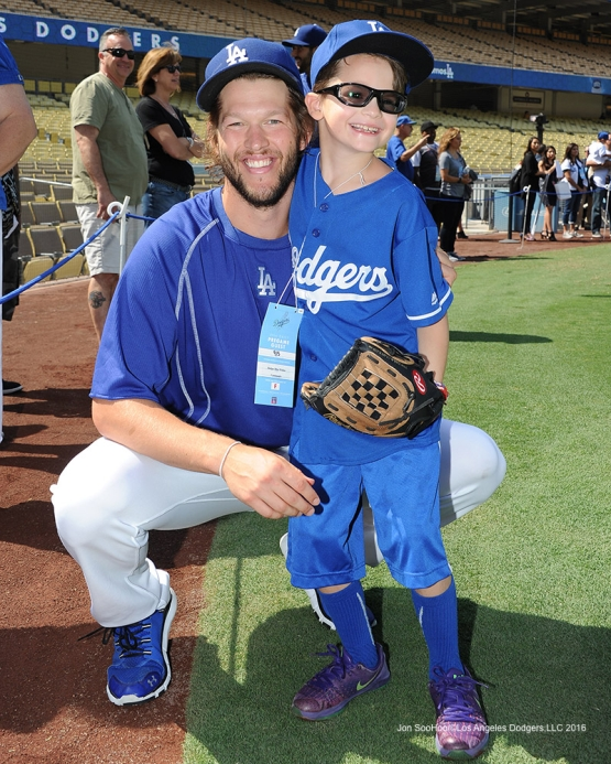 Clayton Kershaw poses with Mason Smith prior to  game against the Arizona Diamondbacks Monday, September 5, 2016 at Dodger Stadium. Photo by Jon SooHoo/©Los Angeles Dodgers,LLC 2016