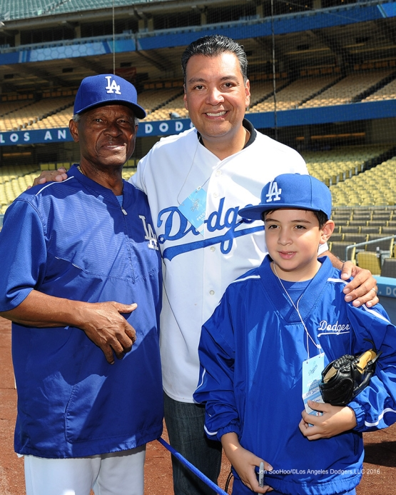 Secretary of State. Alex Padilla and family with Manny Mota prior to game against the Arizona Diamondbacks Monday, September 5, 2016 at Dodger Stadium. Photo by Jon SooHoo/©Los Angeles Dodgers,LLC 2016