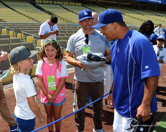 Dave Roberts greets guests prior to game against the Arizona Diamondbacks Monday, September 5, 2016 at Dodger Stadium. Photo by Jon SooHoo/©Los Angeles Dodgers,LLC 2016