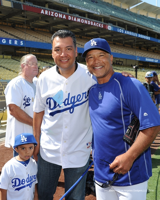 Secretary of State. Alex Padilla and family with Dave Roberts prior to game against the Arizona Diamondbacks Monday, September 5, 2016 at Dodger Stadium. Photo by Jon SooHoo/©Los Angeles Dodgers,LLC 2016