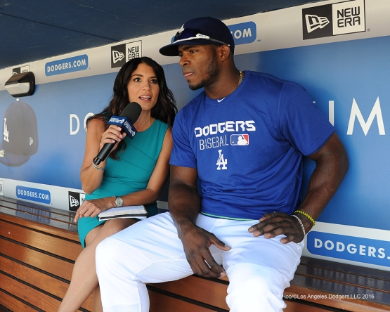 Alanna Rizzo and Yasiel Puig prior to game against the Arizona Diamondbacks Monday, September 5, 2016 at Dodger Stadium. Photo by Jon SooHoo/©Los Angeles Dodgers,LLC 2016