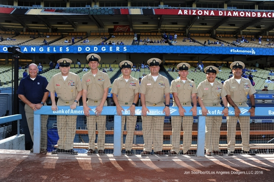 Rebuilding American Warriors pose in the Dodger dugout prior to game against the Arizona Diamondbacks Monday, September 5, 2016 at Dodger Stadium. Photo by Jon SooHoo/©Los Angeles Dodgers,LLC 2016