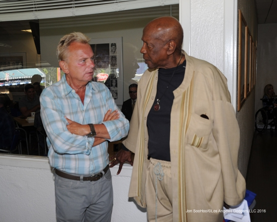 Pat Sajak and Lou Gossett Jr prior to game against the Arizona Diamondbacks Monday, September 5, 2016 at Dodger Stadium. Photo by Jon SooHoo/©Los Angeles Dodgers,LLC 2016