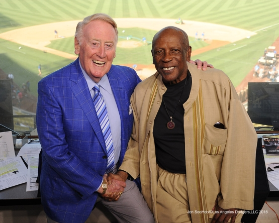 Vin Scully with Lou Gossett Jr prior to game against the Arizona Diamondbacks Monday, September 5, 2016 at Dodger Stadium. Photo by Jon SooHoo/©Los Angeles Dodgers,LLC 2016