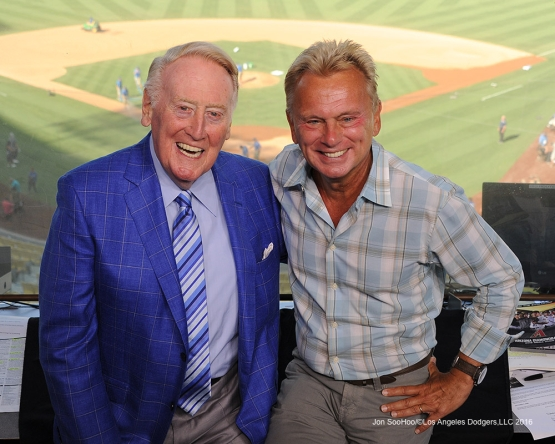 Vin Scully with Pat Sajak prior to game against the Arizona Diamondbacks Monday, September 5, 2016 at Dodger Stadium. Photo by Jon SooHoo/©Los Angeles Dodgers,LLC 2016