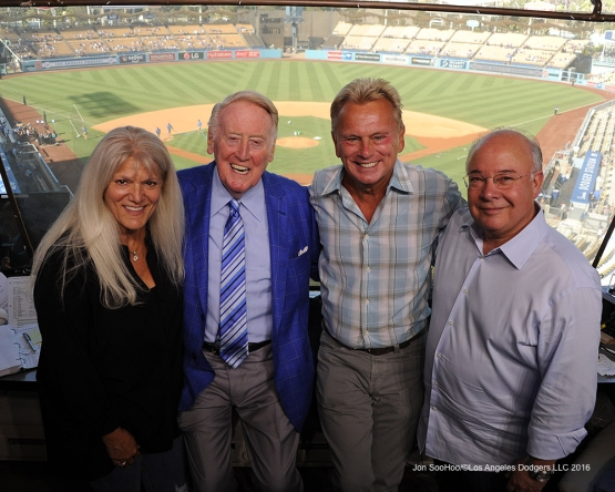 Vin Scully with Joe and Sharon Hernandez and Pat Sajak pose prior to game against the Arizona Diamondbacks Monday, September 5, 2016 at Dodger Stadium. Photo by Jon SooHoo/©Los Angeles Dodgers,LLC 2016