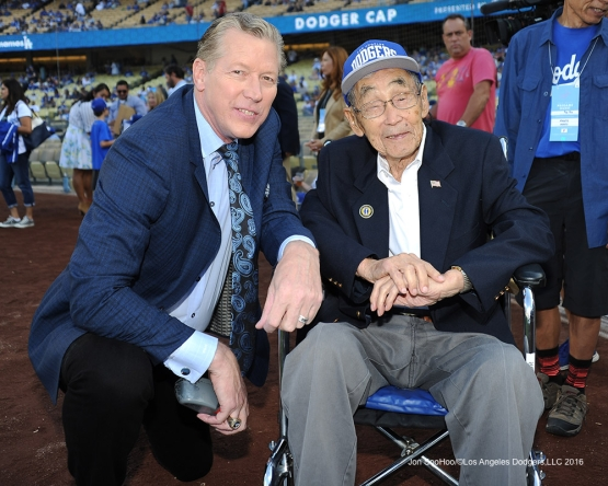 Los Angeles Dodgers Military Hero of the Game, U.S. Army Staff Sergeant, Jack Kunitomi poses with Orel Hershiser prior to game against the Arizona Diamondbacks Monday, September 5, 2016 at Dodger Stadium. Photo by Jon SooHoo/©Los Angeles Dodgers,LLC 2016