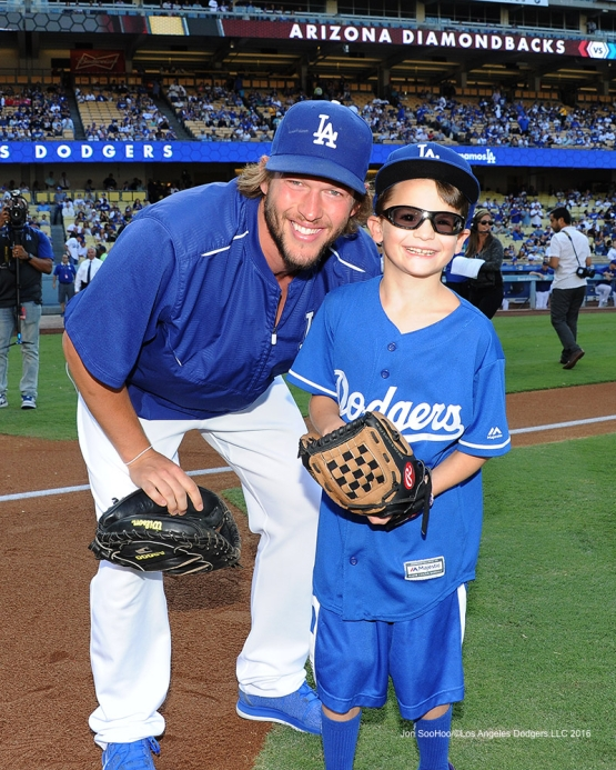 Mason Smith with Clayton Kershaw  prior to  game against the Arizona Diamondbacks Monday, September 5, 2016 at Dodger Stadium. Photo by Jon SooHoo/©Los Angeles Dodgers,LLC 2016