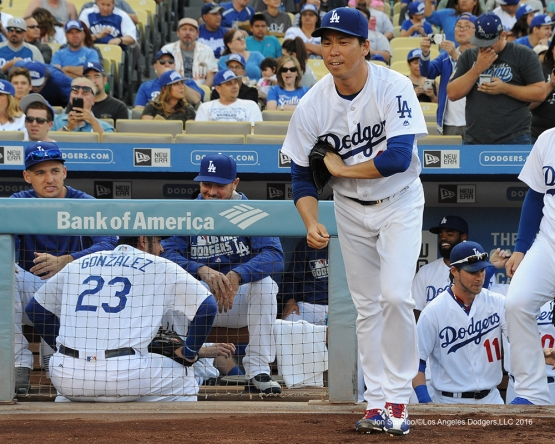Kenta Maeda takes the field to start game against the Arizona Diamondbacks Monday, September 5, 2016 at Dodger Stadium. Photo by Jon SooHoo/©Los Angeles Dodgers,LLC 2016