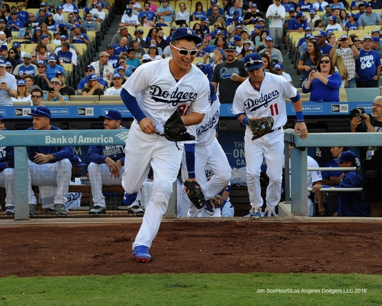 Joc Pederson takes the field to start game against the Arizona Diamondbacks Monday, September 5, 2016 at Dodger Stadium. Photo by Jon SooHoo/©Los Angeles Dodgers,LLC 2016