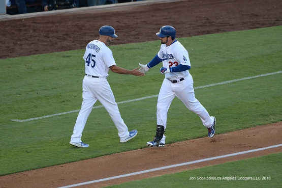 Adrian Gonzalez homers against the Arizona Diamondbacks Monday, September 5, 2016 at Dodger Stadium. Photo by Jon SooHoo/©Los Angeles Dodgers,LLC 2016