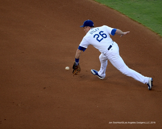 Chase Utley fields ball against the Arizona Diamondbacks Monday, September 5, 2016 at Dodger Stadium. Photo by Jon SooHoo/©Los Angeles Dodgers,LLC 2016