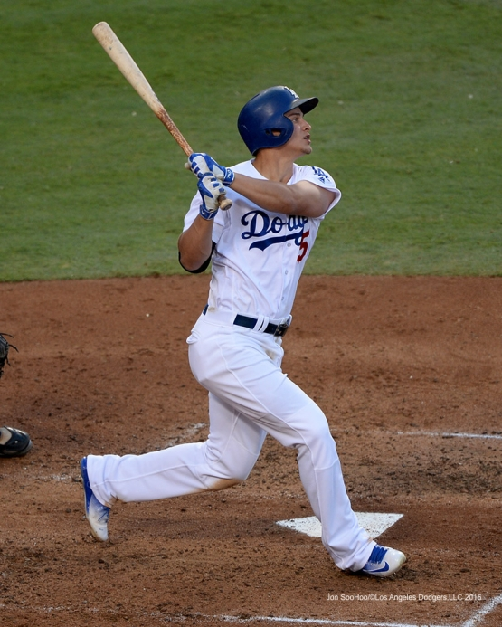 Corey Seager homers against the Arizona Diamondbacks Monday, September 5, 2016 at Dodger Stadium. Photo by Jon SooHoo/©Los Angeles Dodgers,LLC 2016