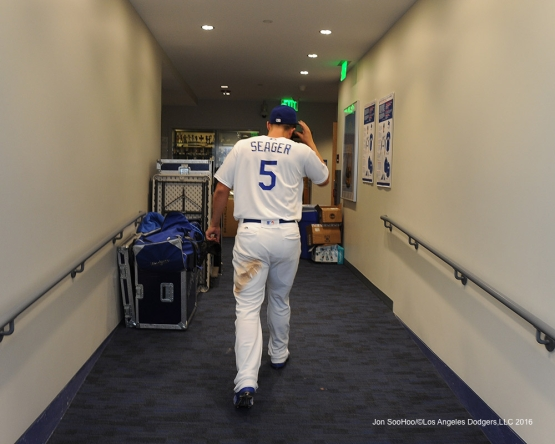 Corey Seager after game against  the Arizona Diamondbacks  Monday, September 5, 2016 at Dodger Stadium. Photo by Jon SooHoo/©Los Angeles Dodgers,LLC 2016