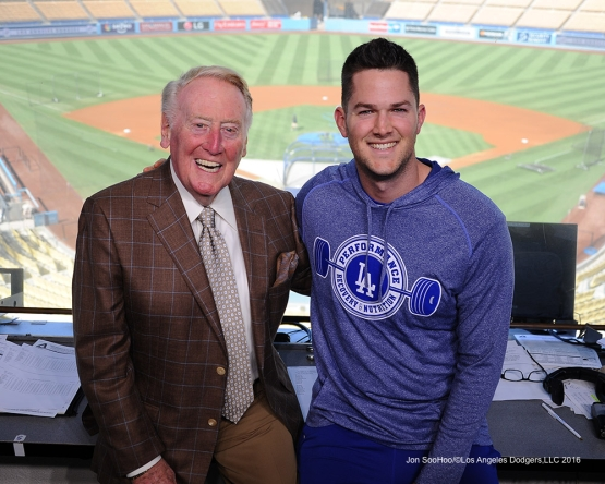 Alex Wood visits Vin Scully prior to game against the Arizona Diamondbacks Tuesday, September 6, 2016 at Dodger Stadium. Photo by Jon SooHoo/©Los Angeles Dodgers,LLC 2016