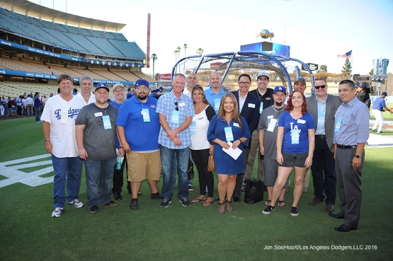 Los Angeles Dodgers radio affiliates night pose prior to game against the Arizona Diamondbacks Tuesday, September 6, 2016 at Dodger Stadium. Photo by Jon SooHoo/©Los Angeles Dodgers,LLC 2016