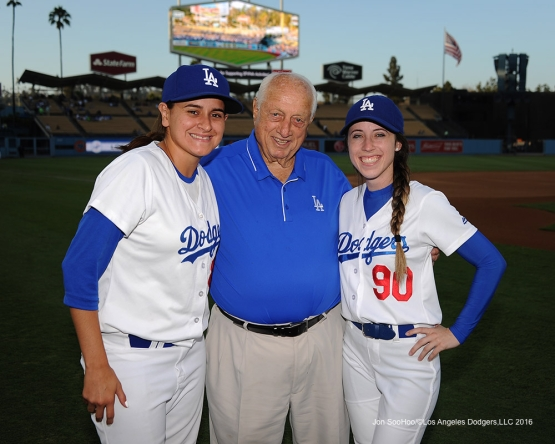 Tommy Lasorda poses with ball girls prior to game against the Arizona Diamondbacks Tuesday, September 6, 2016 at Dodger Stadium. Photo by Jon SooHoo/©Los Angeles Dodgers,LLC 2016