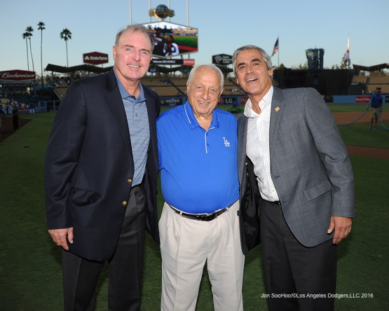 Tommy Lasorda poses with coach John Shoemaker and scout Hank Jones during game against the Arizona Diamondbacks Tuesday, September 6, 2016 at Dodger Stadium. Photo by Jon SooHoo/©Los Angeles Dodgers,LLC 2016