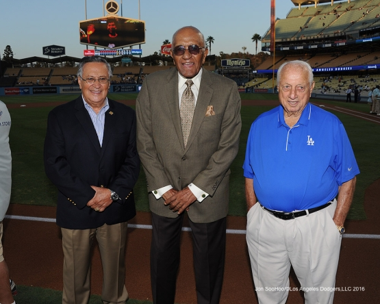 Jaime Jarrin, Don Newcombe and Tommy Lasorda prior to game against the Arizona Diamondbacks Tuesday, September 6, 2016 at Dodger Stadium. Photo by Jon SooHoo/©Los Angeles Dodgers,LLC 2016