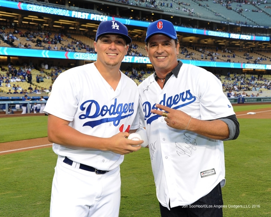 Columbia's popular musician Carlos Vives poses with Kike Hernandez prior to game against the Arizona Diamondbacks Tuesday, September 6, 2016 at Dodger Stadium. Photo by Jon SooHoo/©Los Angeles Dodgers,LLC 2016