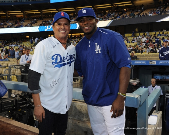 Columbia's popular musician Carlos Vives poses with Yasiel Puig prior to game against the Arizona Diamondbacks Tuesday, September 6, 2016 at Dodger Stadium. Photo by Jon SooHoo/©Los Angeles Dodgers,LLC 2016