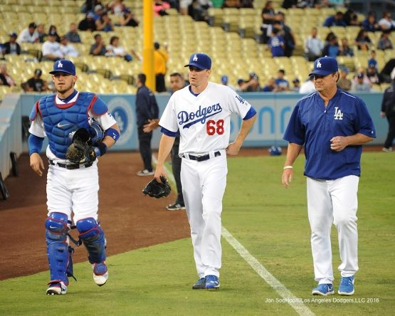 Yasmani Grandal, Ross Stripling and Rick Honeycutt prior to game against the Arizona Diamondbacks Tuesday, September 6, 2016 at Dodger Stadium. Photo by Jon SooHoo/©Los Angeles Dodgers,LLC 2016