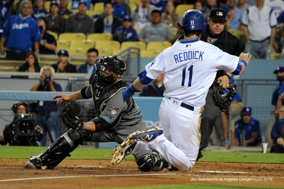Josh Reddick is out at home against the Arizona Diamondbacks Tuesday, September 6, 2016 at Dodger Stadium. Photo by Jon SooHoo/©Los Angeles Dodgers,LLC 2016