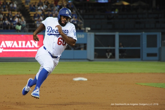 Andrew Toles scores against the Arizona Diamondbacks Tuesday, September 6, 2016 at Dodger Stadium. Photo by Jon SooHoo/©Los Angeles Dodgers,LLC 2016