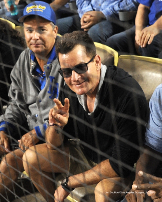 Charlie Sheen in the front row during game against the Arizona Diamondbacks Tuesday, September 6, 2016 at Dodger Stadium. Photo by Jon SooHoo/©Los Angeles Dodgers,LLC 2016