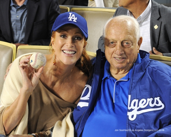 Angie Everhart with Tommy Lasorda during game against the Arizona Diamondbacks Tuesday, September 6, 2016 at Dodger Stadium. Photo by Jon SooHoo/©Los Angeles Dodgers,LLC 2016