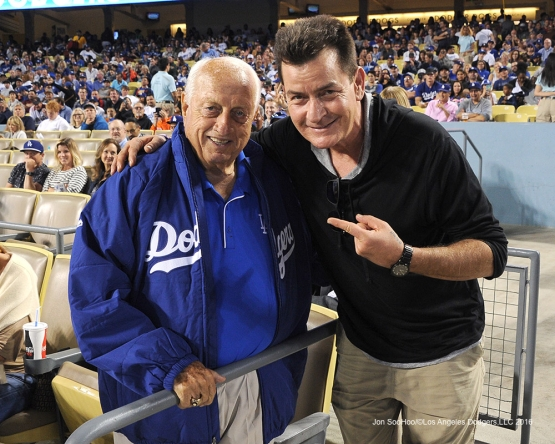 Tommy Lasorda and Charlie Sheen during game against the Arizona Diamondbacks Tuesday, September 6, 2016 at Dodger Stadium. Photo by Jon SooHoo/©Los Angeles Dodgers,LLC 2016