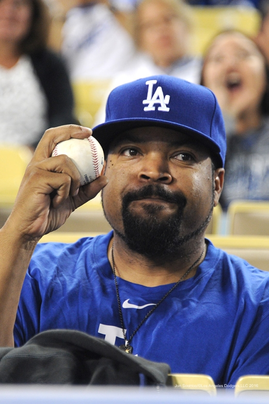 Ice Cube during game against the Arizona Diamondbacks Tuesday, September 6, 2016 at Dodger Stadium. Photo by Jon SooHoo/©Los Angeles Dodgers,LLC 2016