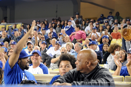 Ice Cube waves to the crowd during game against the Arizona Diamondbacks Tuesday, September 6, 2016 at Dodger Stadium. Photo by Jon SooHoo/©Los Angeles Dodgers,LLC 2016