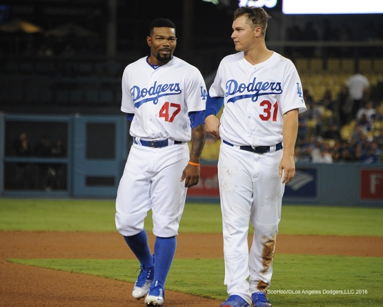 Howie Kendrick and Joc Pederson during game against the Arizona Diamondbacks Tuesday, September 6, 2016 at Dodger Stadium. Photo by Jon SooHoo/©Los Angeles Dodgers,LLC 2016