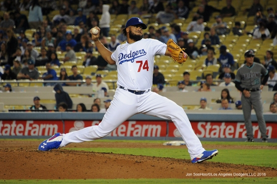 Kenley Jansen during game against the Arizona Diamondbacks Tuesday, September 6, 2016 at Dodger Stadium. Photo by Jon SooHoo/©Los Angeles Dodgers,LLC 2016