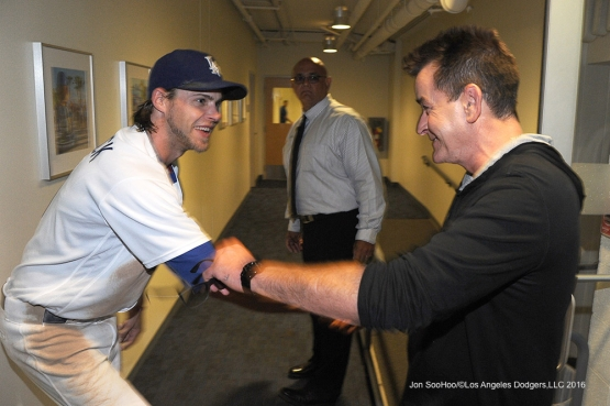 Charlie Sheen meets Josh Reddick after Dodgers win against the Arizona Diamondbacks Tuesday, September 6, 2016 at Dodger Stadium. Photo by Jon SooHoo/©Los Angeles Dodgers,LLC 2016