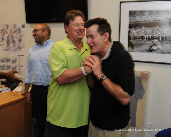 Rick Honeycutt and Charlie Sheen after win against the Arizona Diamondbacks Tuesday, September 6, 2016 at Dodger Stadium. Photo by Jon SooHoo/©Los Angeles Dodgers,LLC 2016