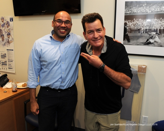 Farhan Zaidi and Charlie Sheen after win against the Arizona Diamondbacks Tuesday, September 6, 2016 at Dodger Stadium. Photo by Jon SooHoo/©Los Angeles Dodgers,LLC 2016