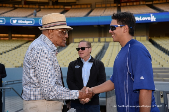 Jose De LŽon and Don Newcombe talk during game against the Arizona Diamondbacks Wedneday, September 7, 2016 at Dodger Stadium. Photo by Jon SooHoo/©Los Angeles Dodgers,LLC 2016
