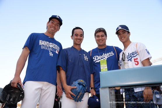 Kenta Maeda and the Iretons prior to game against the Arizona Diamondbacks Wedneday, September 7, 2016 at Dodger Stadium. Photo by Jon SooHoo/©Los Angeles Dodgers,LLC 2016