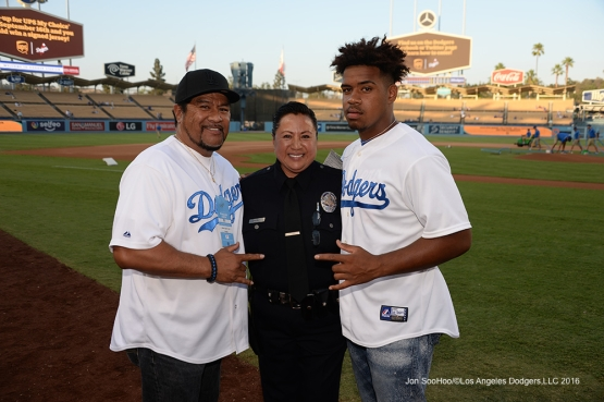 Los Angeles Police department, Senior Lead Officer, Gina Chovan poses with family prior to game against the Arizona Diamondbacks Wednesday, September 7, 2016 at Dodger Stadium. Photo by Jon SooHoo/©Los Angeles Dodgers,LLC 2016