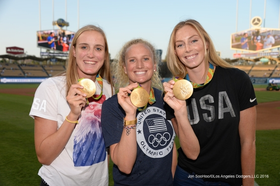 Members of the gold medal winning U.S. Women's Water Polo team pose prior to game against the Arizona Diamondbacks Wedneday, September 7, 2016 at Dodger Stadium. Photo by Jon SooHoo/©Los Angeles Dodgers,LLC 2016
