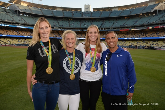 Members of the gold medal winning U.S. Women's Water Polo team and coach pose prior to game against the Arizona Diamondbacks Wedneday, September 7, 2016 at Dodger Stadium. Photo by Jon SooHoo/©Los Angeles Dodgers,LLC 2016