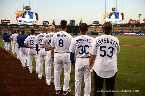 Los Angeles Dodgers stand for the anthem prior to game against the Arizona Diamondbacks Wednesday, September 7, 2016 at Dodger Stadium. Photo by Jon SooHoo/©Los Angeles Dodgers,LLC 2016