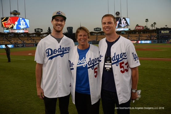 The Drysdale family poses prior to game against the Arizona Diamondbacks Wednesday, September 7, 2016 at Dodger Stadium. Photo by Jon SooHoo/©Los Angeles Dodgers,LLC 2016
