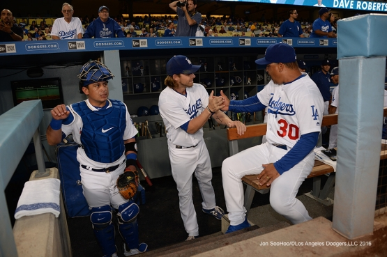 Los Angeles Dodgers prior to game against the Arizona Diamondbacks Wednesday, September 7, 2016 at Dodger Stadium. Photo by Jon SooHoo/©Los Angeles Dodgers,LLC 2016