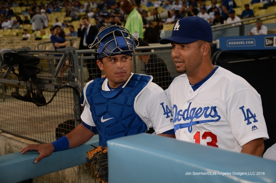 Carlos Ruiz and Juan Castro talk before game against the Arizona Diamondbacks Wednesday, September 7, 2016 at Dodger Stadium. Photo by Jon SooHoo/©Los Angeles Dodgers,LLC 2016