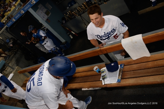 Corey Seager and Chris Woodward chat before game against the Arizona Diamondbacks Wednesday, September 7, 2016 at Dodger Stadium. Photo by Jon SooHoo/©Los Angeles Dodgers,LLC 2016