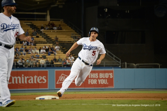 Corey Seager scores during game against the Arizona Diamondbacks Wednesday, September 7, 2016 at Dodger Stadium. Photo by Jon SooHoo/©Los Angeles Dodgers,LLC 2016