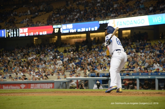 Yasiel Puig scores Corey Seager during game against the Arizona Diamondbacks Wednesday, September 7, 2016 at Dodger Stadium. Photo by Jon SooHoo/©Los Angeles Dodgers,LLC 2016